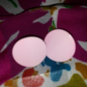 Vintage pink button Post-back Earrings